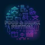 Jedzenia i napoju festiwalu round kolorowa wektorowa ilustracja ilustracja wektor