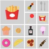 Jedzenia i napoju ikona Fast food Płaskie kolor ikony Ikona dłoniaki Fotografia Stock