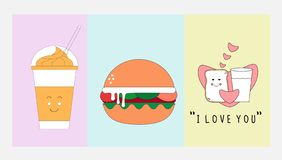 Jedzenia i napoju ikona ustawiająca z płaskim projekta pojęciem royalty ilustracja