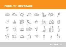 Jedzenia i napoju ikony Obrazy Stock