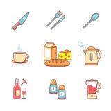 Jedzenia i napoju ikony cienieją linia set Zdjęcia Stock