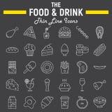 Jedzenia i napoju ikony kreskowy set, posiłek szyldowa kolekcja Obraz Stock