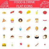 Jedzenia i napoju ikony płaski set, cukierków symbole kolekcja, logo ilustracje, kolorowa bryła odizolowywająca na białym tle Zdjęcia Royalty Free