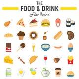 Jedzenia i napoju ikony płaski set, posiłków znaki Fotografia Royalty Free