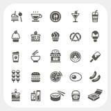 Jedzenia i napoju ikony ustawiać Obrazy Royalty Free
