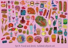 Jedzenia i napoju set Obrazy Stock