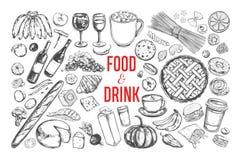 Jedzenia i napoju wektorowy duży set 1 ilustracja wektor