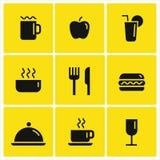 Jedzenia i napoju wektoru ikony Zdjęcie Stock