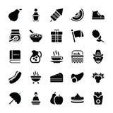 Jedzenia i prezentów mieszkania ikony royalty ilustracja