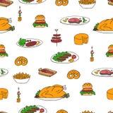 Jedzenia i przekąsek doodle wzór Fotografia Stock