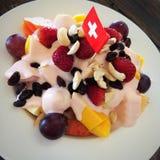 jedzenia winogron owocowy pomarańczy wegetarianin porcelanowa sałatkę Obraz Stock