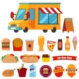 Jedzenie ślad z karmowymi ikonami ilustracji