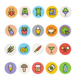 Jedzenie Barwione Wektorowe ikony 9 ilustracji