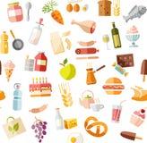 Jedzenie, bezszwowy wzór, kolor, biel, sklep spożywczy, wektor Obraz Stock