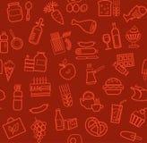Jedzenie, bezszwowy wzór, kontur, zmrok - czerwień, sklep spożywczy, wektor Fotografia Royalty Free