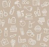 Jedzenie, bezszwowy wzór, szarość, kontur, sklep spożywczy, wektor Zdjęcia Royalty Free
