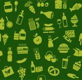 Jedzenie, bezszwowy wzór, zieleń, kolor, sklep spożywczy, wektor Obraz Stock