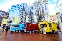 Jedzenie ciężarówka w Pionierskim gmachu sądu kwadracie Zdjęcia Stock