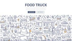Jedzenie ciężarówki Doodle pojęcie ilustracji