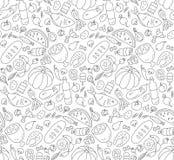Jedzenie Czarny i biały bezszwowy wzór w Doodle i kreskówka projektujemy kontur ilustracja wektor