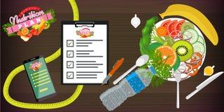 Jedzenie, dieta, zdrowy styl życia i ciężar straty pojęcia sztandaru szablon, Naczynie sałatka, smartphone i dieta plan, wektor royalty ilustracja