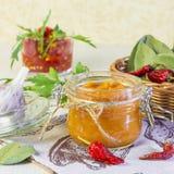 Jedzenie Domowej roboty żniwo konserwacja Żywienioniowy jarzynowy puree zucchini, bania, marchewka, pieprz z pikantność, czosnek  obraz royalty free