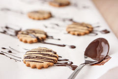 Jedzenie: Domowej roboty czekolada zakrywający oatmeal ciastka Obrazy Stock