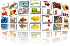 jedzenie ekranizuje temat Obrazy Stock