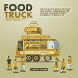 Jedzenie festiwalu ciężarowy plakat z smakoszem, Kawowy temat Obrazy Royalty Free