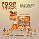 Jedzenie festiwalu ciężarowy plakat z smakoszem, piekarnia temat Fotografia Royalty Free