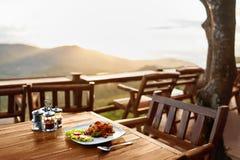 Jedzenie Gość restauracji W Tajlandzkiej restauraci zdrowy posiłek Podróż Thailan Obraz Royalty Free
