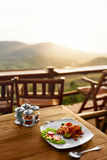 Jedzenie Gość restauracji W Tajlandzkiej restauraci zdrowy posiłek Podróż Thailan Zdjęcie Royalty Free