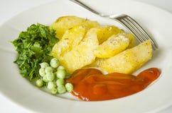 Jedzenie, grula je, horyzontalny, warzywa, warzywo, garnirunek Zdjęcie Royalty Free