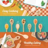 Jedzenie i kulinarny sztandar Obrazy Royalty Free