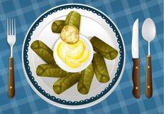Jedzenie i naczynie ilustracji