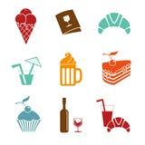 Jedzenie i napoju ikony Zdjęcia Royalty Free