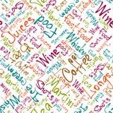 Jedzenie i pije imienia kolorowy bezszwowego na bielu Obrazy Royalty Free