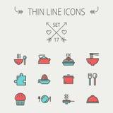 Jedzenie ikony cienki kreskowy set Fotografia Stock