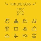 Jedzenie ikony cienki kreskowy set royalty ilustracja