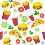 Jedzenie ikony szybki wzór Obrazy Stock
