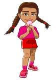 jedzenie kremowy dziewczyny lodu Zdjęcia Stock