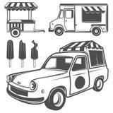 Jedzenie lody i ciężarówka przewozimy samochodem dla emblematów i loga Zdjęcie Royalty Free