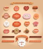 Jedzenie odznaki i etykietki. ilustracji