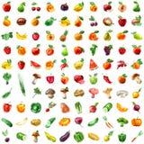 Jedzenie owocowej ikony ustaleni warzywa Obraz Royalty Free