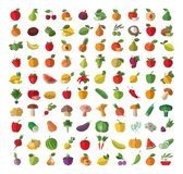 Jedzenie Owocowy i warzywa ustawiać barwione ikony Obrazy Royalty Free