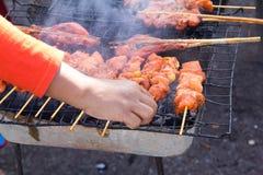 Jedzenie, piec na grillu kurczak. fotografia stock