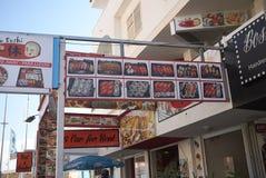 Jedzenie podpisuje wewnątrz Ibiza Zdjęcie Royalty Free