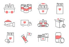Jedzenie przejażdżki konturu ikony kolekci set Dobroczynność posiłku wektoru ilustracja ilustracji