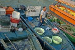 Jedzenie rybi rynek przy piękną tradycyjną fischermans wioską Zdjęcia Royalty Free