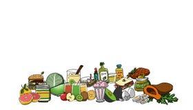 Jedzenie ustalona ilustracja Zdjęcia Royalty Free